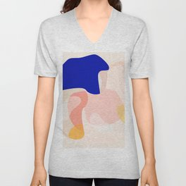 Modern Abstract Peach Pink Navy Blue Yellow Pattern Unisex V-Neck