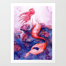 Red Coral Mermaid Art Print