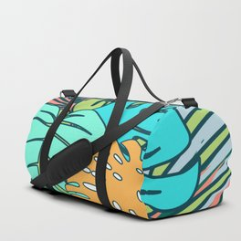 Tropical leaves blue Duffle Bag