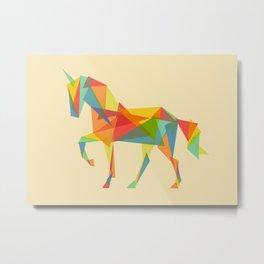 Fractal Geometric Unicorn Metal Print