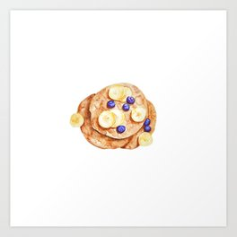Pancakes breakfast Watercolor Art Print