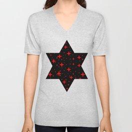 Bright Red Stars in Space , Cristmas Stars Unisex V-Neck