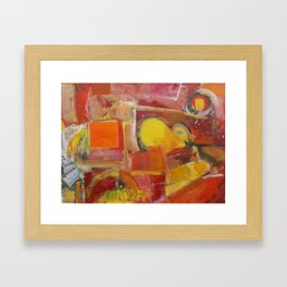 Abstract Yellow and Red Framed Art Print