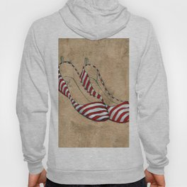 Red and white stripes Hoody