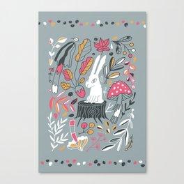 Botanical blockprint bunny Canvas Print