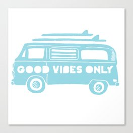 Good Vibes Only retro surfing Camper Van Canvas Print