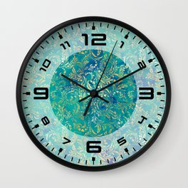 Blue Gold Swirls Wall Clock
