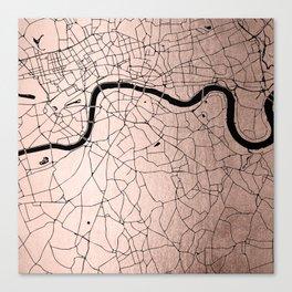London Rosegold on Black Street Map Canvas Print
