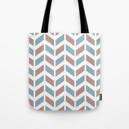 Beige, grayish blue and white chevron pattern Tote Bag