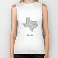 texas Biker Tanks featuring Texas map by David Zydd
