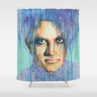 pastel goth Shower Curtains featuring Pastel Cure by Anne Blondie Bengard