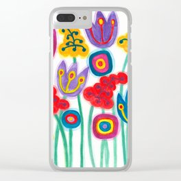 raw flower garden with tulips Clear iPhone Case
