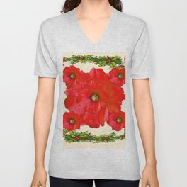 RED FLOWERS & GREEN HOLIDAY FLORAL ART Unisex V-Neck