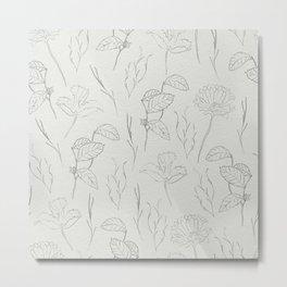 Line Art Leaf Pattern II Metal Print