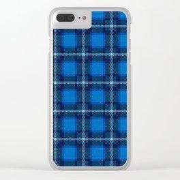 Scottish Tartan Blue Clear iPhone Case