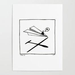 Ninja flies a Paper Plane Poster