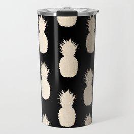 Gold Pineapples Pattern Black Travel Mug