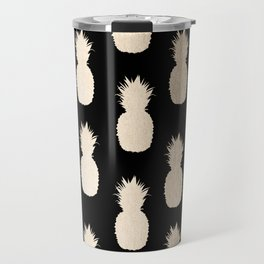 Gold Pineapples Pattern Black Travel Mug