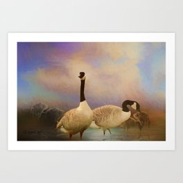 Geese In The Watershed Art Print