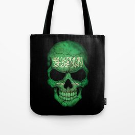 Dark Skull with Flag of Saudi Arabia Tote Bag