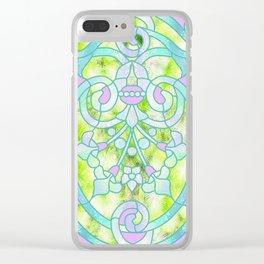 Art Nouveau Lime Green and Pink Batik Design Clear iPhone Case