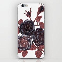 Black roses - Vintage rose print iPhone Skin