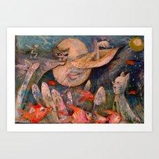 GATO LUNA Art Print