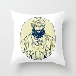 Sikh Priest Praying Front Oval Etching Throw Pillow