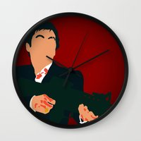 scarface Wall Clocks featuring Scarface by Tom Storrer