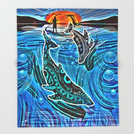 Whales Tale Throw Blanket