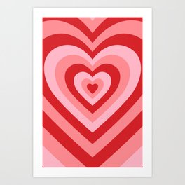 70s psychedelic pink heart Art Print