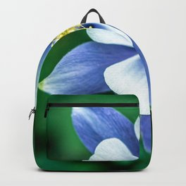 Colorado Columbine // States Flower Close up Purplish Blue Petals White and Yellow Accents Backpack