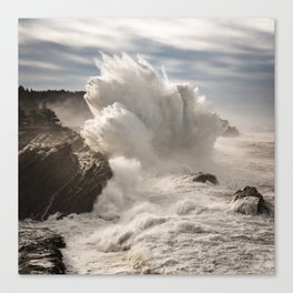 Crashing Waves Explode off the Rocky Cape Arago Oregon Coastline Canvas Print