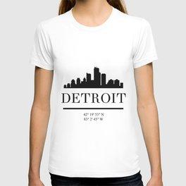 DETROIT MICHIGAN BLACK SILHOUETTE SKYLINE ART T-shirt