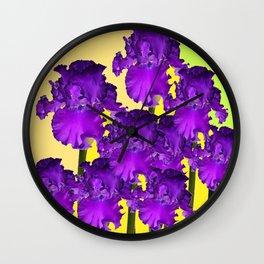 Yellows Contemporary Purple Iris Garden Art Wall Clock