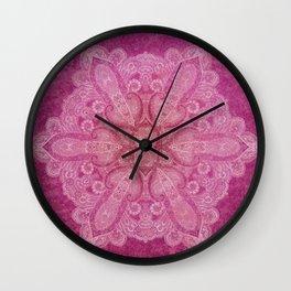 Big paisley mandala in raspberry Wall Clock