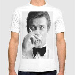 Roger Moore with Martini Retro Vintage Art T-shirt