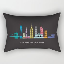 New York Skyline One WTC Poster Black Rectangular Pillow
