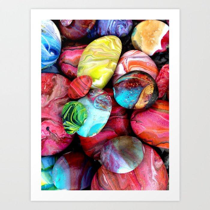Colorful sea stones Art Print