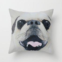 Pug Portrait - Original painting by Tracy Sayers Trombetta Throw Pillow