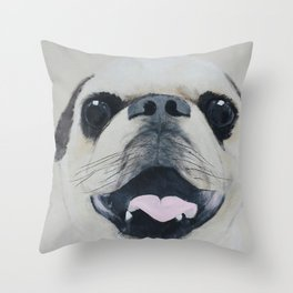 Pug Portrait - Original painting by Tracy Sayers Trombetta Throw Pillow