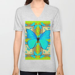 Turquoise Satin Butterflies On Lime & Cream Colors Unisex V-Neck