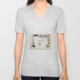 French Postage, meet me in Paris Unisex V-Neck