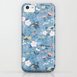 Birds & Blooms (Blue) iPhone Case