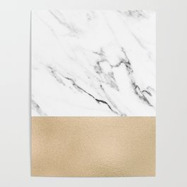 White Marble with Black and Copper Bronze Poster