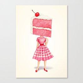 Cake Head Pin-Up - Cherry Canvas Print