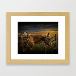 Saddle Horse on the Prairie Framed Art Print