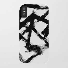 Brushstroke 5 - a simple black and white ink design iPhone Case