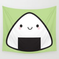 marceline Wall Tapestries featuring Kawaii Onigiri Rice Ball by Marceline Smith