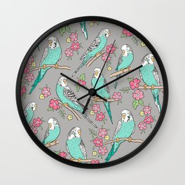 Budgie Birds With Blossom Flowers on Grey Wall Clock